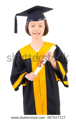 Asian kid in graduation gown