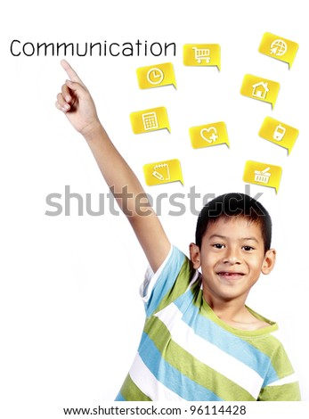asian kid playing pointing communication on white background