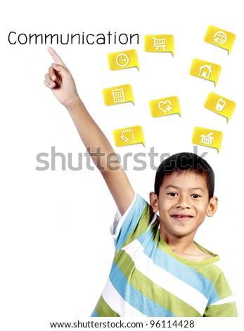 asian kid playing pointing communication on white background - stock photo