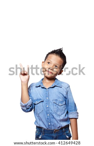 Asian kid show two fingers isolated on white background - stock photo