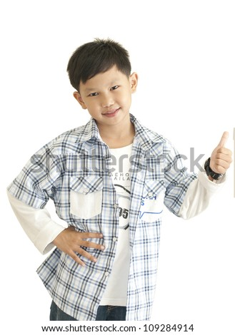 Asian kid thumps up - stock photo