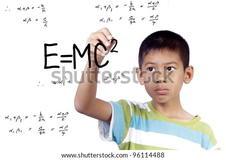asian kid write draw E=mc2 on white background - stock photo