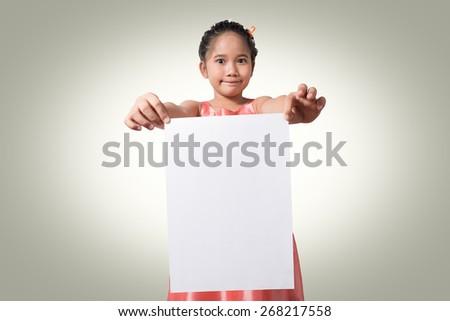 asian kids holding white paper - stock photo