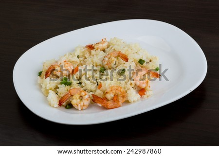 Asian kitchen - Fried rice with prawns - stock photo