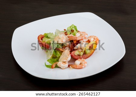 Asian kitchen - Shrimps with aloe vera salad