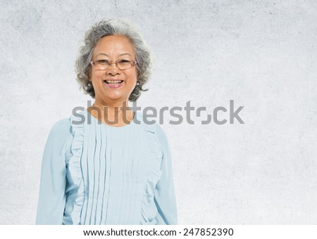 Asian Lady Portrait Concrete Wall Background Concept