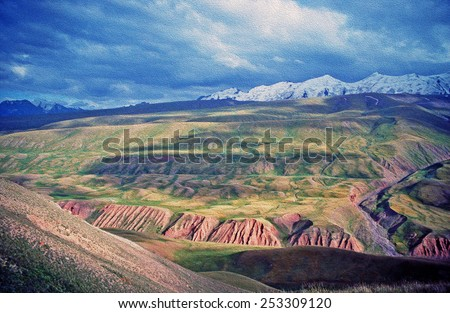 asian landscape of Alay valley, Kyrgyzstan, large vistas of space - steppe and Pamir mountains,  stylized and filtered to resemble an oil painting
