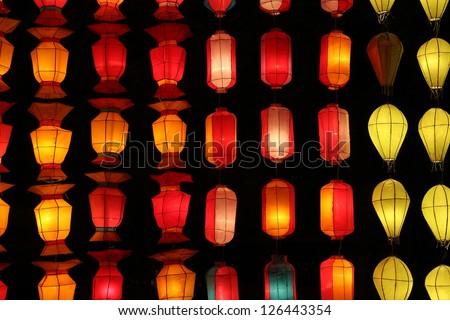 asian lantern texture - stock photo