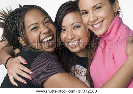 Asian, Latino, African American teen girl portrait - stock photo