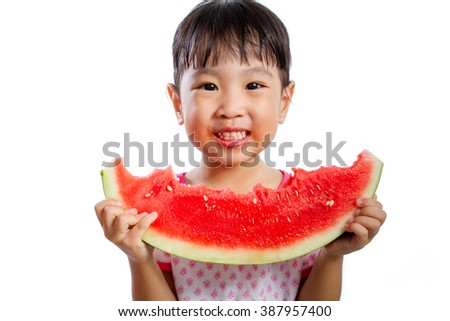 Asian Little Chinese Girl Eating Watermelon isolated on White Background