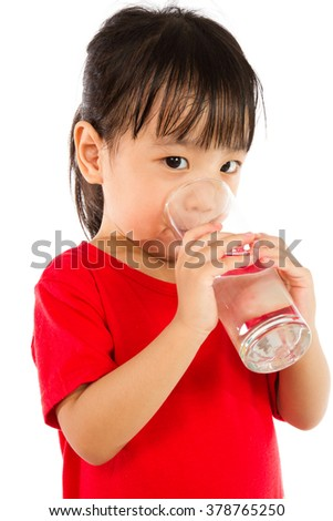 Asian Little Chinese Girl Holding a cup of Water isolated on White Background - stock photo