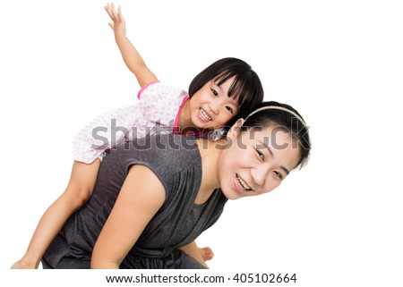 Asian Little Chinese Girl Piggyback Ride with Mother in Isolated White Background - stock photo