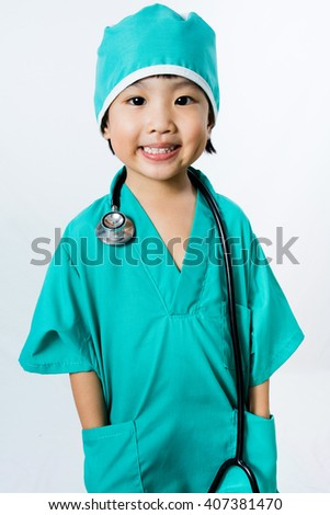 Asian Little Chinese Girl Playing a Doctor with Stethoscope in isolated White Background - stock photo