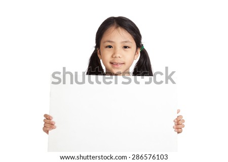Asian little girl hold a blank sign  isolated on white background