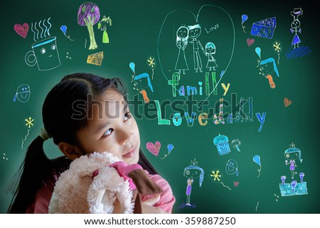 Asian little girl thinking dreaming of a family.
