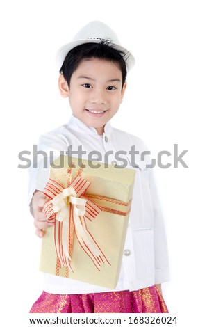 Asian Lovely Boy with giftbox on white background .  - stock photo
