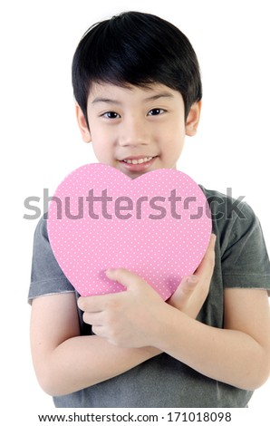 Asian Lovely Boy with heart giftbox on white background .  - stock photo