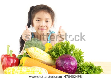 Asian lovely girl showing enjoy expression with fresh colorful vegetables isolated over white background
