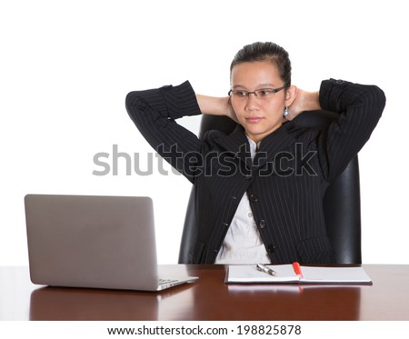 Asian Malay woman at office desk with expression and emotion over white background