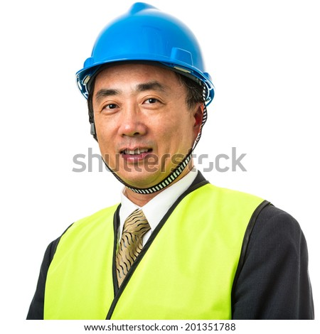 Asian male construction worker on white background