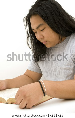 Asian Male Reading Book, Isolated