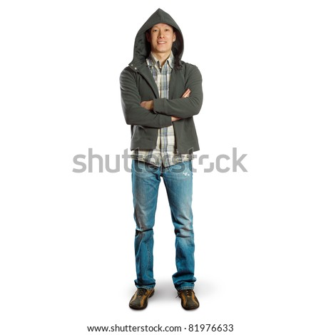 asian male standing up straight with folded hands