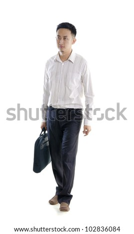asian male walking - stock photo