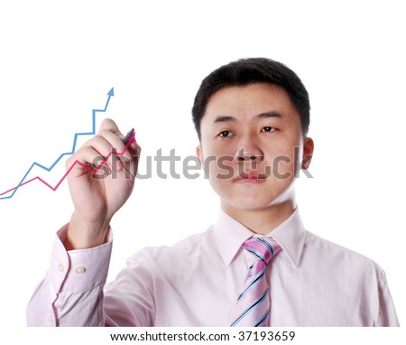 asian man drawing diagram with two lines and arrows - stock photo