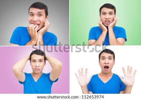 Asian Man Face Expressions Collage With Colorful Background - stock photo