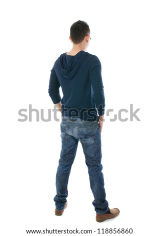 asian man full body, shot from back - stock photo