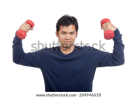 Asian man  happy hold dumbbell with both hand isolated on white background