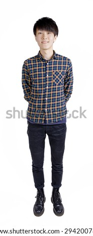 asian man in casual on white background