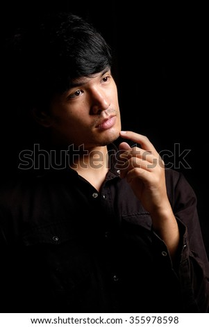 Asian man portrait in the dark