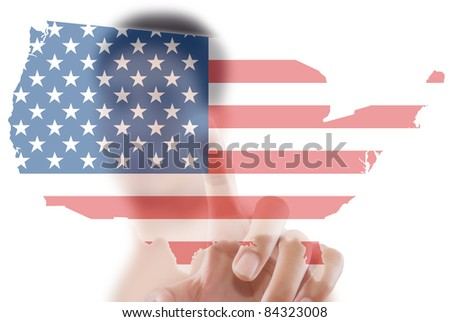 Asian Man Pushing Usa Flag Map