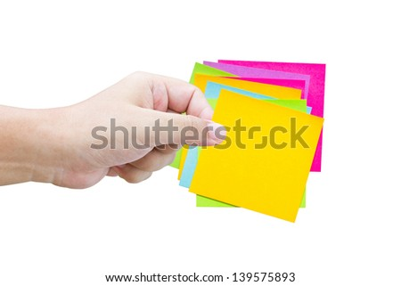 Asian man's hand hold the colorful sticky notes isolated on white.