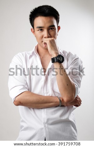 Asian man wear shirt in white background