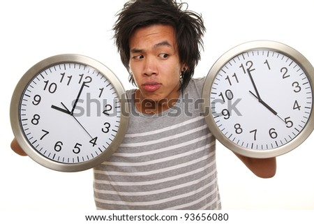 Asian man with a Clock 9 till 5
