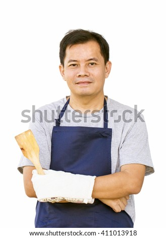 Asian Man With Frying Tool And Cooking Glove  On White Background