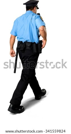Asian man with short black hair in uniform holding handgun - Isolated - stock photo