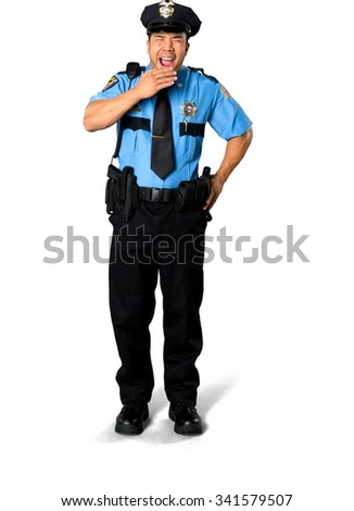 Asian man with short black hair in uniform with hands on hips - Isolated