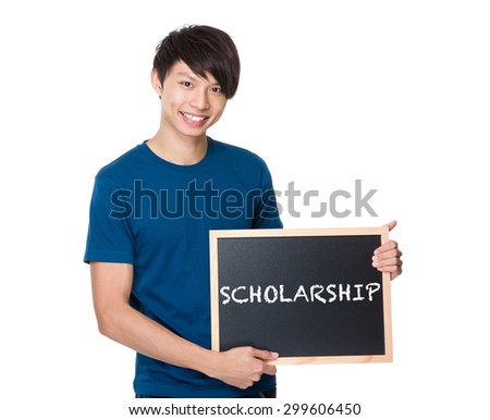 Asian man with the blackboard showing a word scholarship