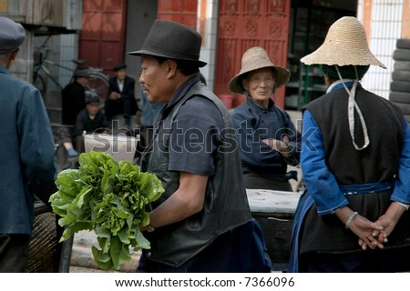 Asian market - stock photo