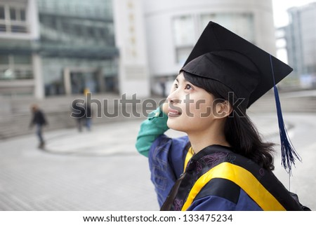 Asian master girl graduate looking for future - stock photo