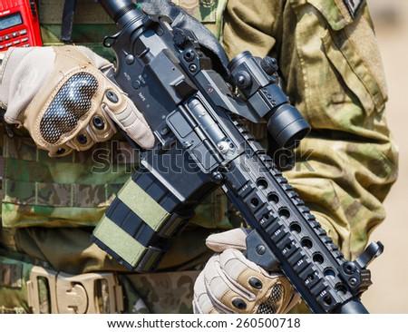Asian men soldier full equipment training gun tactic - stock photo