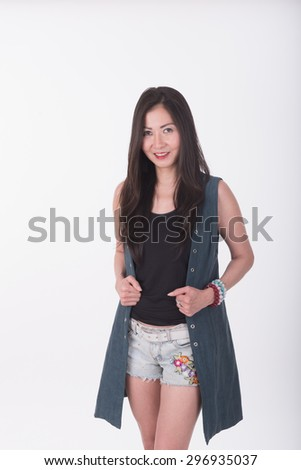 Asian middle age woman standing on white background