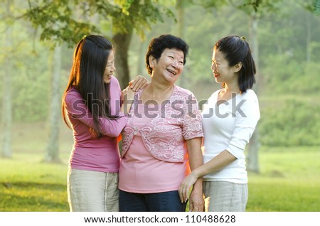 asian mother and bot her daughters