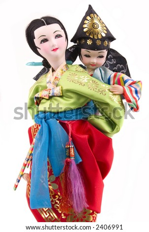 Asian mother and child dolls (Korean)