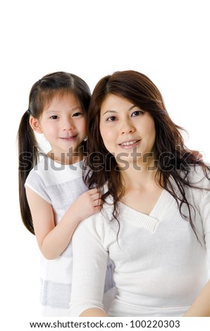 Asian mother and her daughter on white background, perfect for mother's day