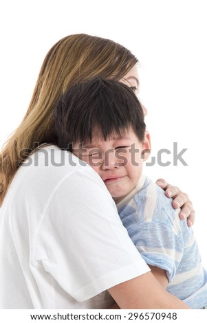 Asian mother comforting her crying child on white background isolated