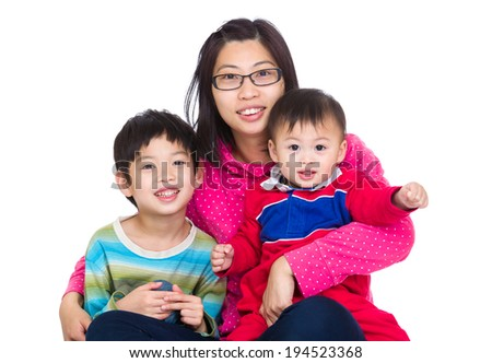 Asian mother with two son